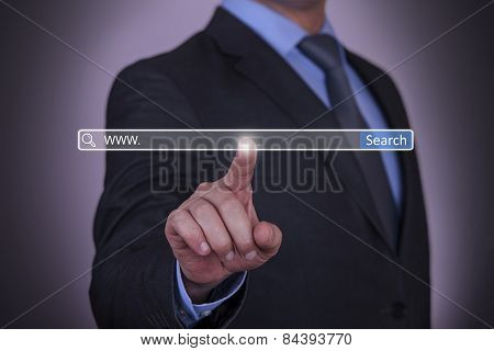 Business hand pressing Search button