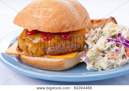 Delicious Cheeseburger With Cole Slaw And Fries