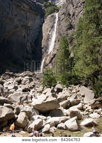 People Enjoy The Waterfall At Upper And Lower Yosemite Falls