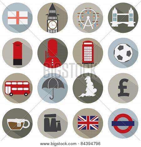 Set Of England Symbol Icons.