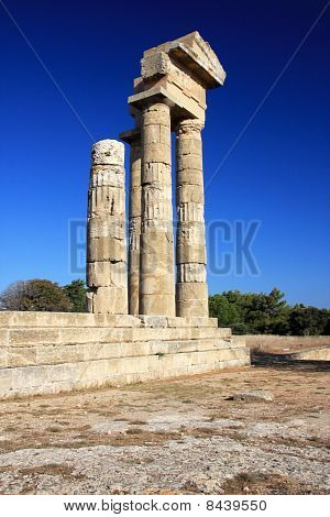 Greece Rhodes Acropolis temple ruins