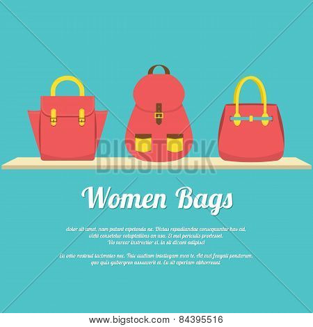 Colorful Women Handbags Display On Shelf.