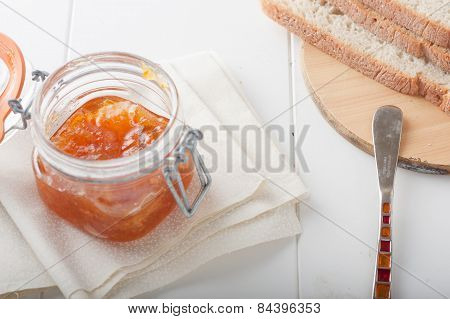 orange or apricot jam with bread
