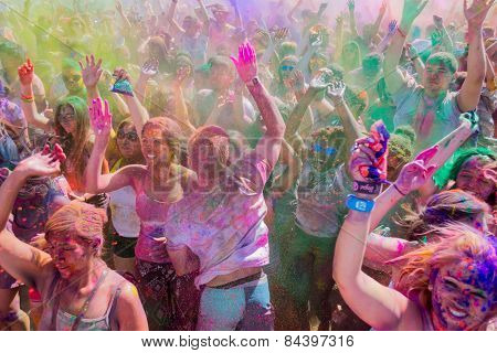 People Celebrating During The Color Throw.