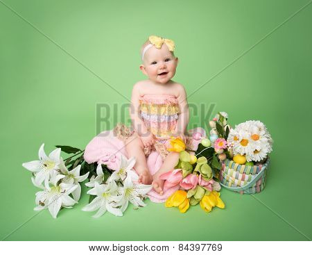 Baby Easter Outfit, With Eggs And Flowers