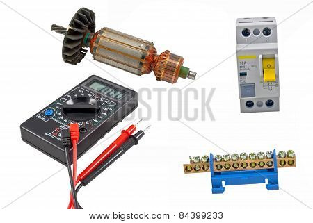 Electric Motor Rotor, Automatic Circuit Breaker And Digital Multimeter