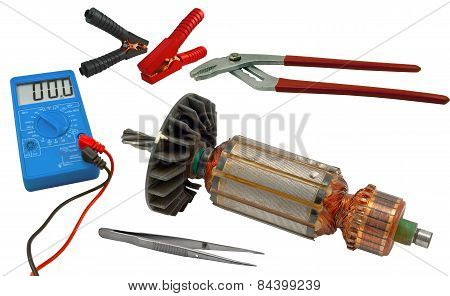 Electric Motor Rotor And Tools For Home Electrical Repair
