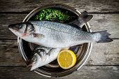 stock photo of bass fish  - two raw fresh sea bass in a bowl with thyme and lemon on wooden table - JPG