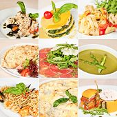 pic of veal meat  - Italian food collage including risotto alla pescatora lasagna tagliatelle meat calzone veal carpaccio creamy asparagus soup linguine pasta pizza and fish terrine - JPG