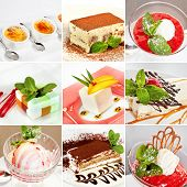 pic of panna  - Various desserts collage including creme brulee tiramisu fruit ice cream sorbet vanilla panna cotta and cheesecake - JPG