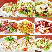 picture of caesar salad  - Various salads collage including mix salads caesar salads and parma ham salad - JPG