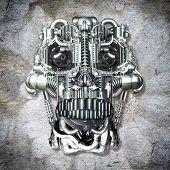 stock photo of homo  - Skull of many mechanical parts Homo Mechanicus - JPG