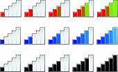 stock photo of indications  - Signal strength indicators or general gauge measure level indicators - JPG