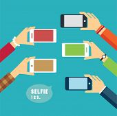 foto of selfie  - taking a selfie photo flat design for web and print - JPG
