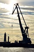 pic of shipyard  - Old shipyard at the sunset Kronshtadt Russia - JPG