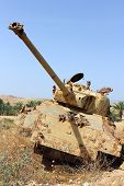 picture of panzer  - old destroyed tank left over from the Six Day War in Israel - JPG