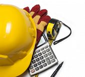 picture of hard_hat  - isolated hard hat with gloves and rulers on white - JPG