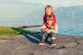 stock photo of pullovers  - Two kids - JPG