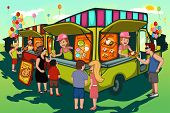foto of food truck  - A vector illustration of people in food truck festival - JPG