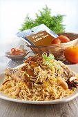 foto of nasi  - Nasi Briyani with ingredient on nice table setting - JPG