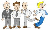 stock photo of bullying  - vector illustration of a few colleagues who bully another - JPG
