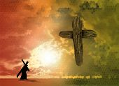 stock photo of calvary  - The figure of Christ carrying the cross up Calvary on Good Friday - JPG