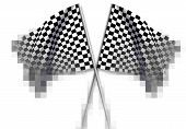 foto of sidecar  - Two large Checkered Flag made in 3d software - JPG