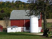 red barn farm buildings