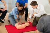 pic of resuscitation  - Instructor Demonstrating Cpr Chest Compression On A Dummy - JPG