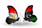 picture of libya  - Two butterflies with flags on wings as symbol of relations Egypt and Libya - JPG