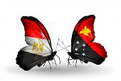 stock photo of papua new guinea  - Two butterflies with flags on wings as symbol of relations Egypt and Papua New Guinea - JPG