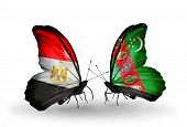 image of turkmenistan  - Two butterflies with flags on wings as symbol of relations Egypt and Turkmenistan - JPG