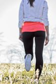 pic of legs air  - Walking outdoors on the fresh air in spring in meadow