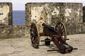 foto of san juan puerto rico  - Historic cannon at the ready in old San Juan Puerto Rico - JPG