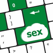 stock photo of pornographic  - business concept Sex button on laptop keyboard keys - JPG