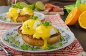 pic of benediction  - Eggs benedict prosciutto topped with Hollandaise sauce - JPG