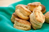 stock photo of buttermilk  - delicious buttermilk biscuits homemade on a green background - JPG