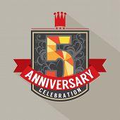 stock photo of 5s  - 5 Years Anniversary Badge Design Vector - JPG