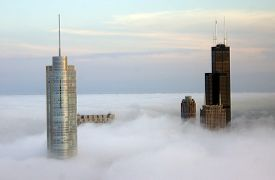 picture of willy  - View of Chicago skyscrapers peaking through the clouds from the John Hancock Building