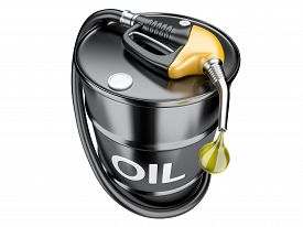 image of drop oil  - Fuel concept with oil barrel and gas pump nozzle - JPG