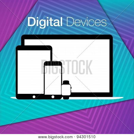 Modern Digital Devices Sets Geometric Background