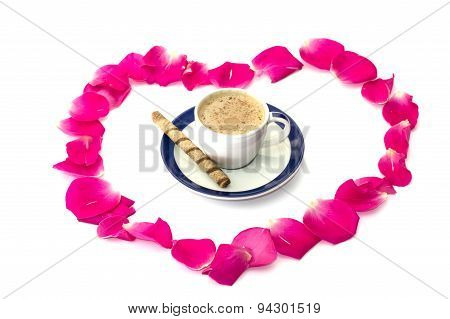 cup of coffee in a ring from rose-petals