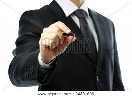 Businessman writing on screen isolated on white