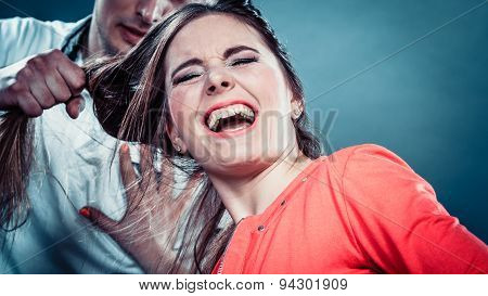 Husband Abusing Wife Pulling Her Hair. Violence.