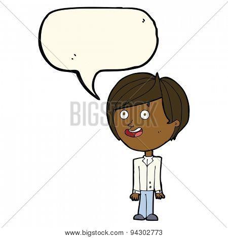 cartoon happy surprised boy with speech bubble