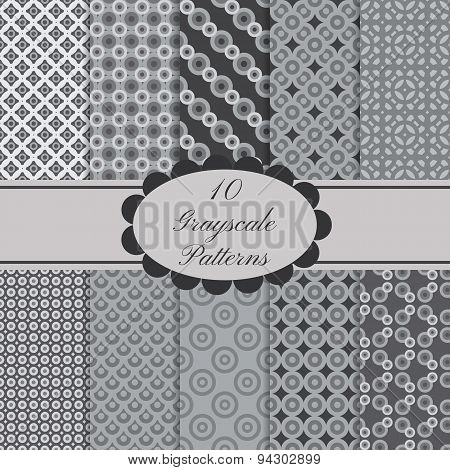 10 seamless gray patterns set