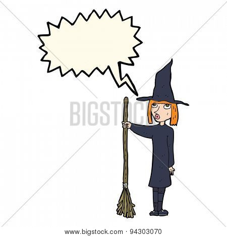 cartoon witch with speech bubble