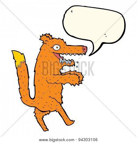 cartoon hungry fox with speech bubble