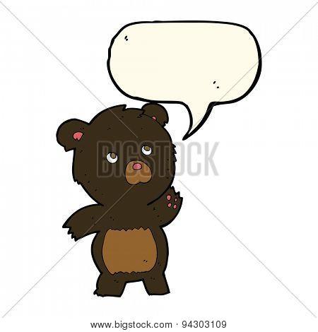 cartoon curious black bear with speech bubble