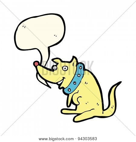 cartoon happy dog in big collar with speech bubble